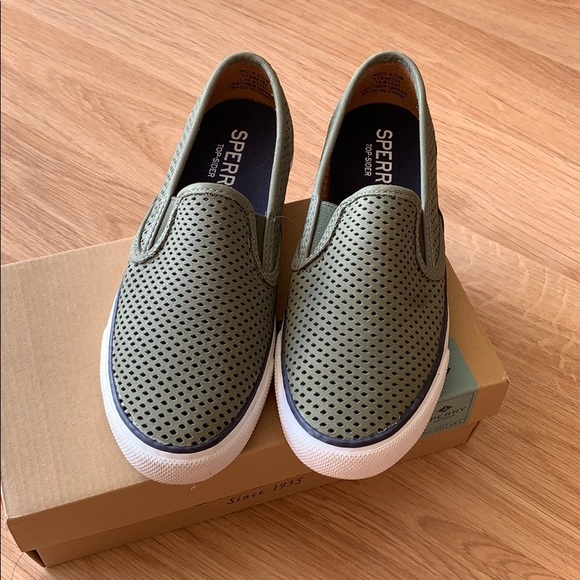 Sperry Shoes - Sperry Perforated Sneakers Olive Green